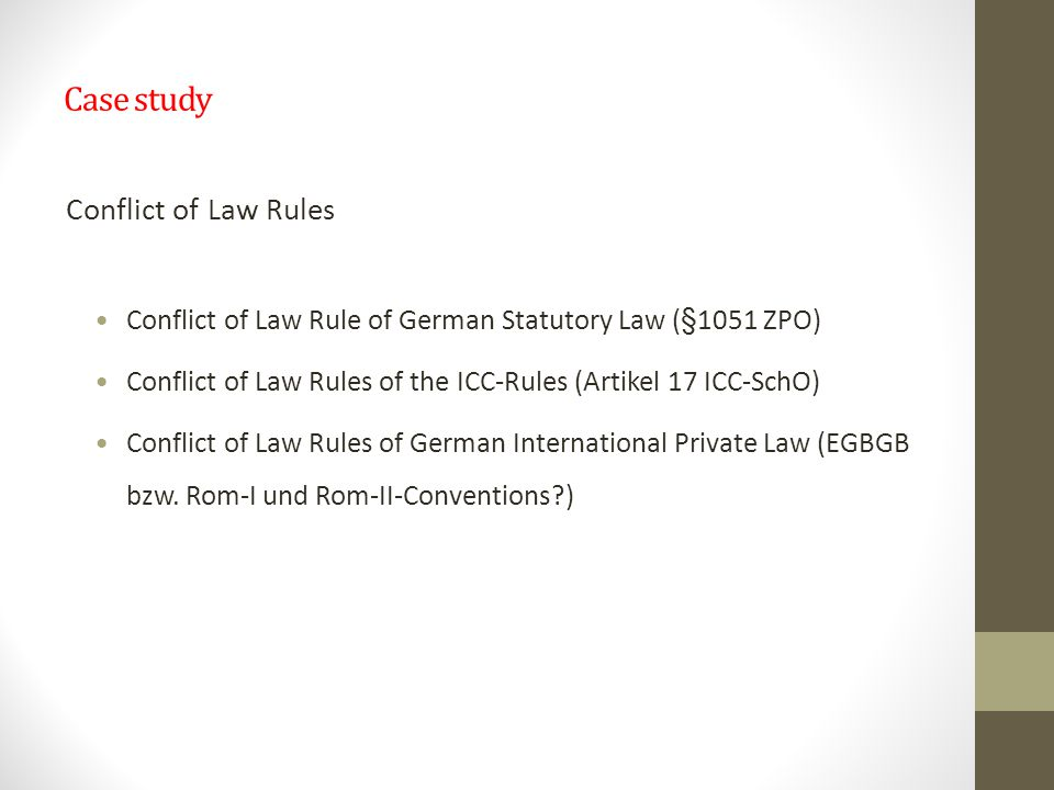 Case study Conflict of Law Rules