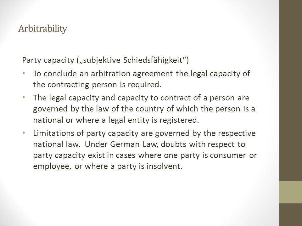 "Arbitrability Party capacity (""subjektive Schiedsfähigkeit )"