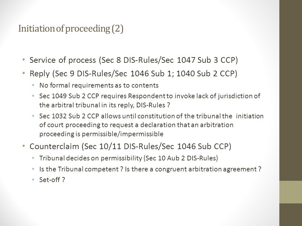 Initiation of proceeding (2)