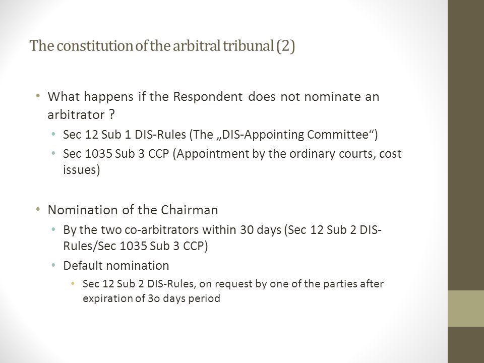 The constitution of the arbitral tribunal (2)