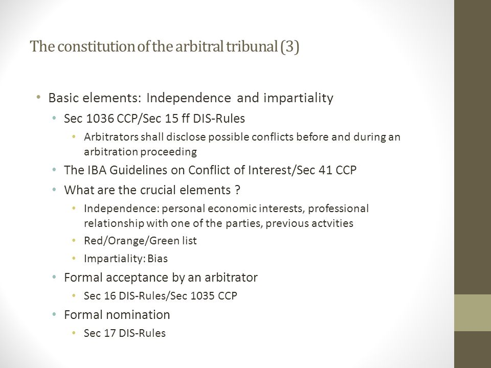 The constitution of the arbitral tribunal (3)