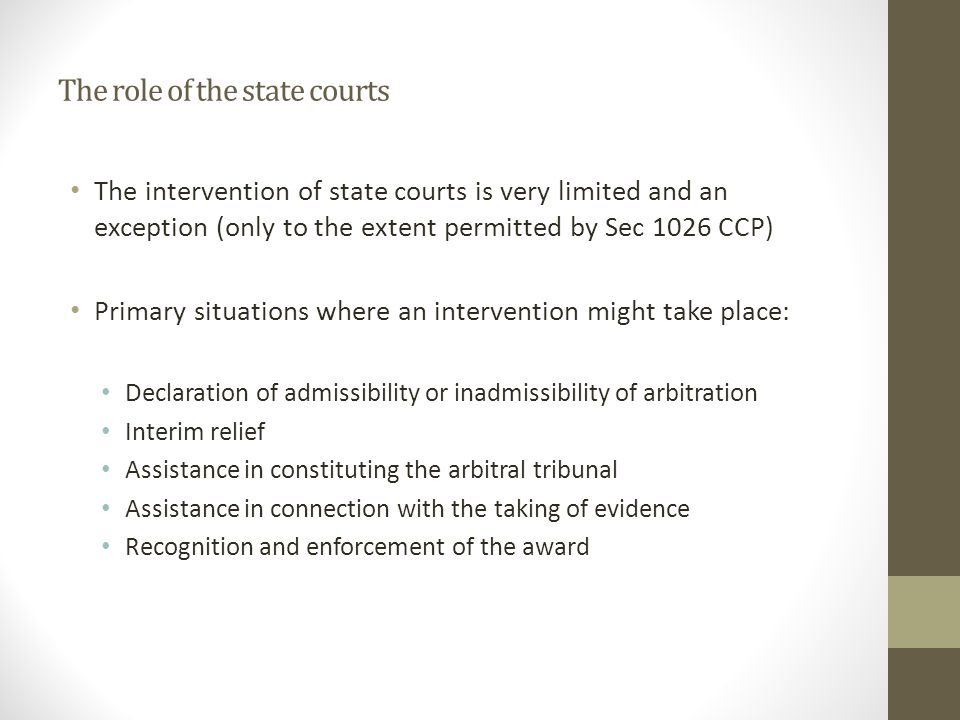 The role of the state courts