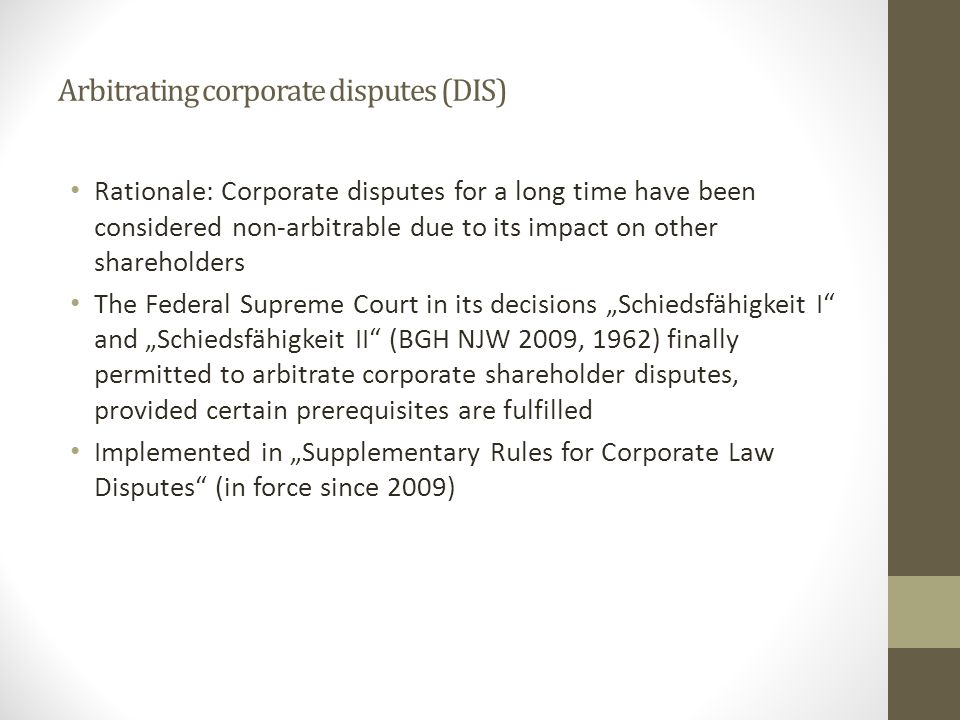 Arbitrating corporate disputes (DIS)