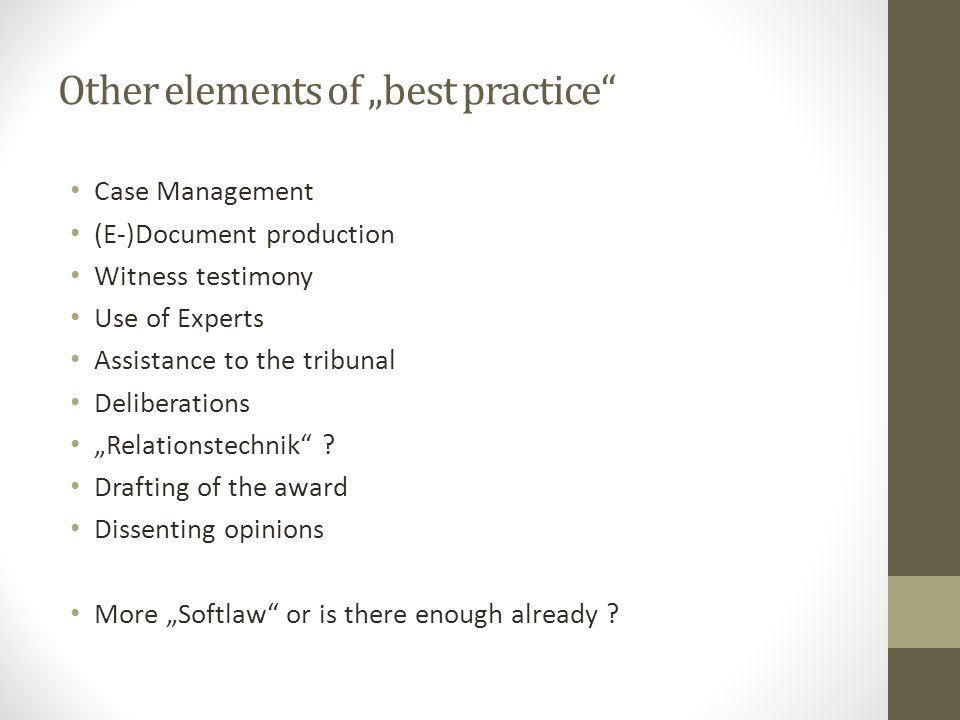 "Other elements of ""best practice"