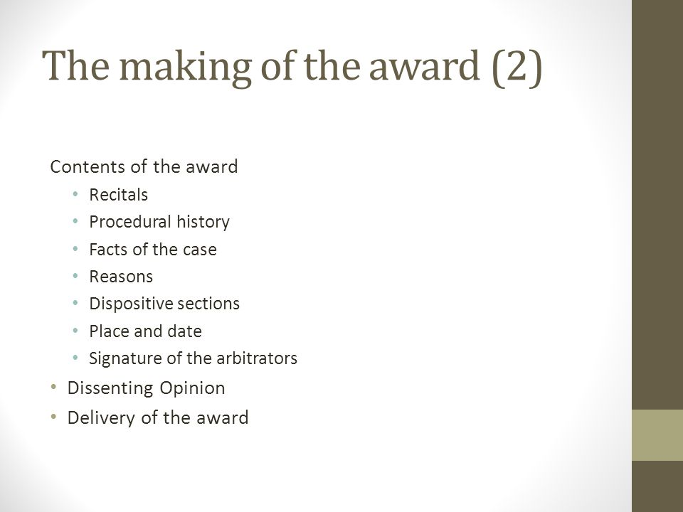 The making of the award (2)