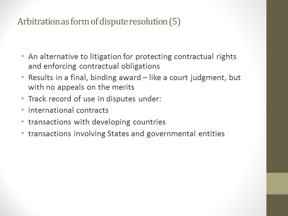Arbitration as form of dispute resolution (5)
