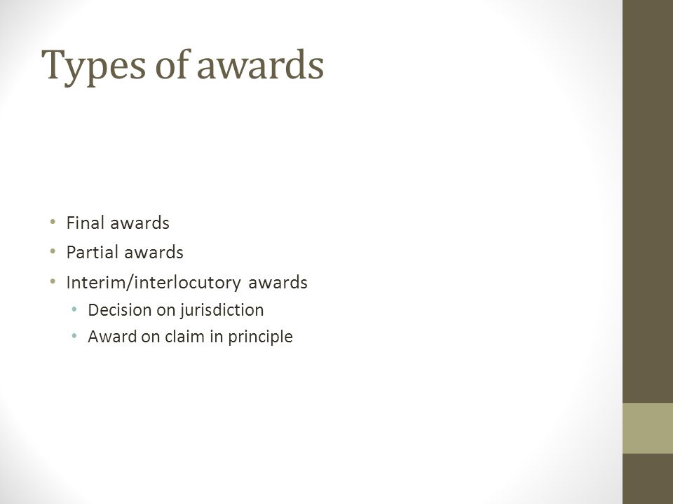 Types of awards Final awards Partial awards