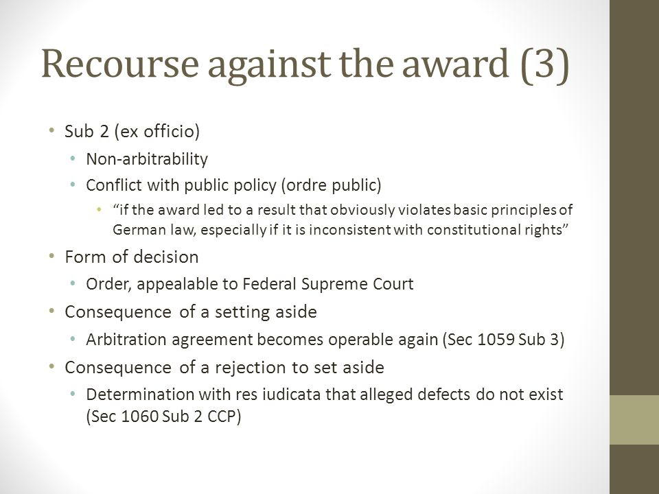 Recourse against the award (3)