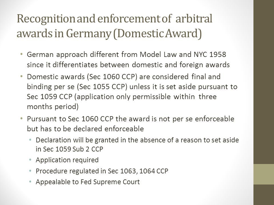 Recognition and enforcement of arbitral awards in Germany (Domestic Award)