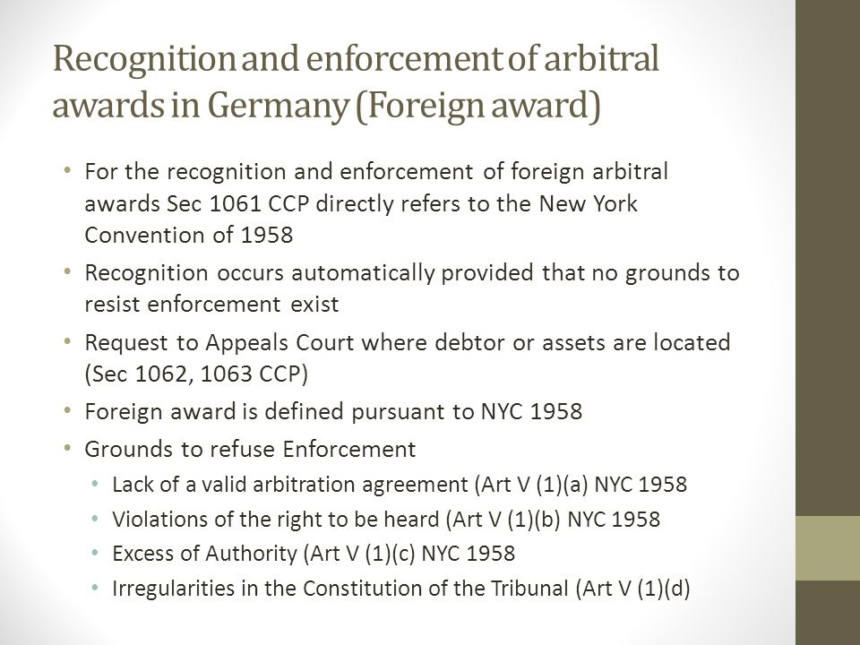 Recognition and enforcement of arbitral awards in Germany (Foreign award)