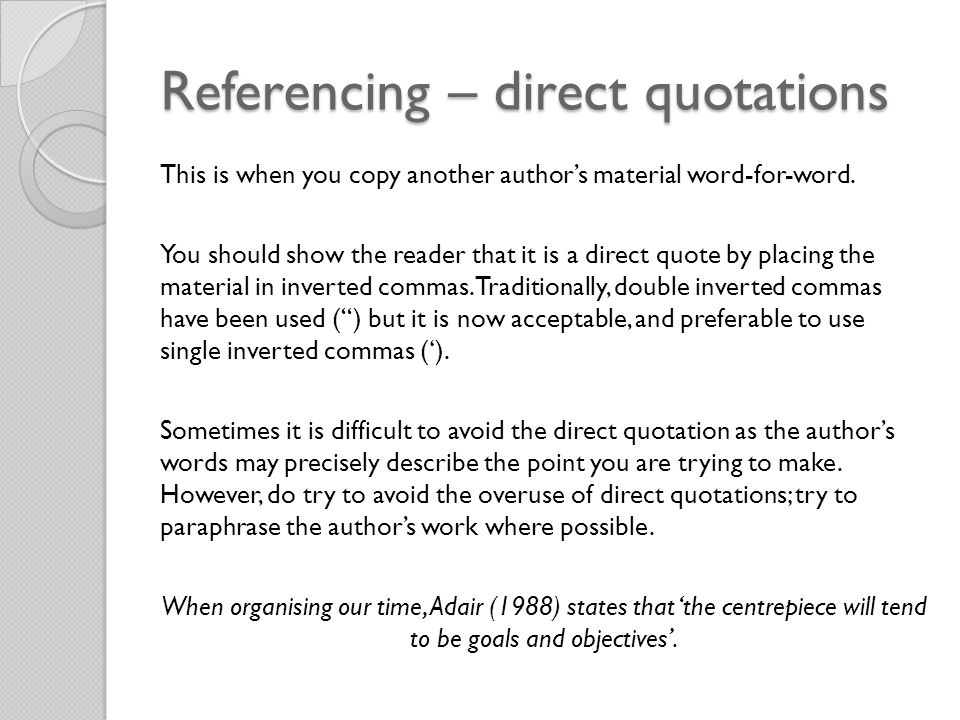 Referencing – direct quotations
