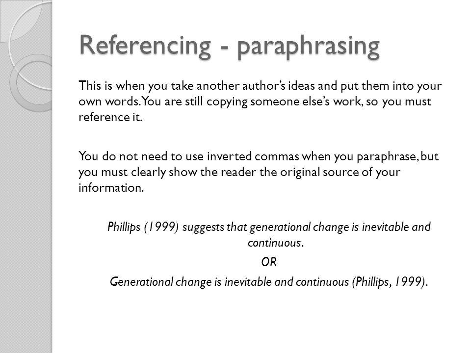 Referencing - paraphrasing