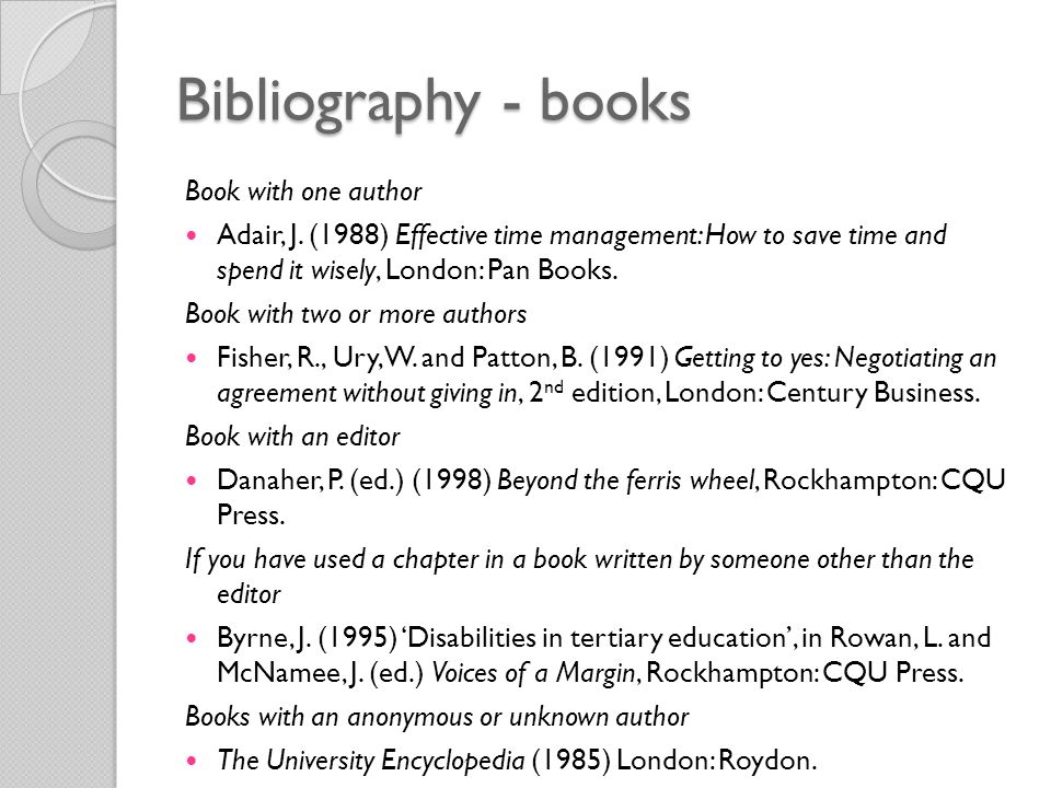 Bibliography - books Book with one author