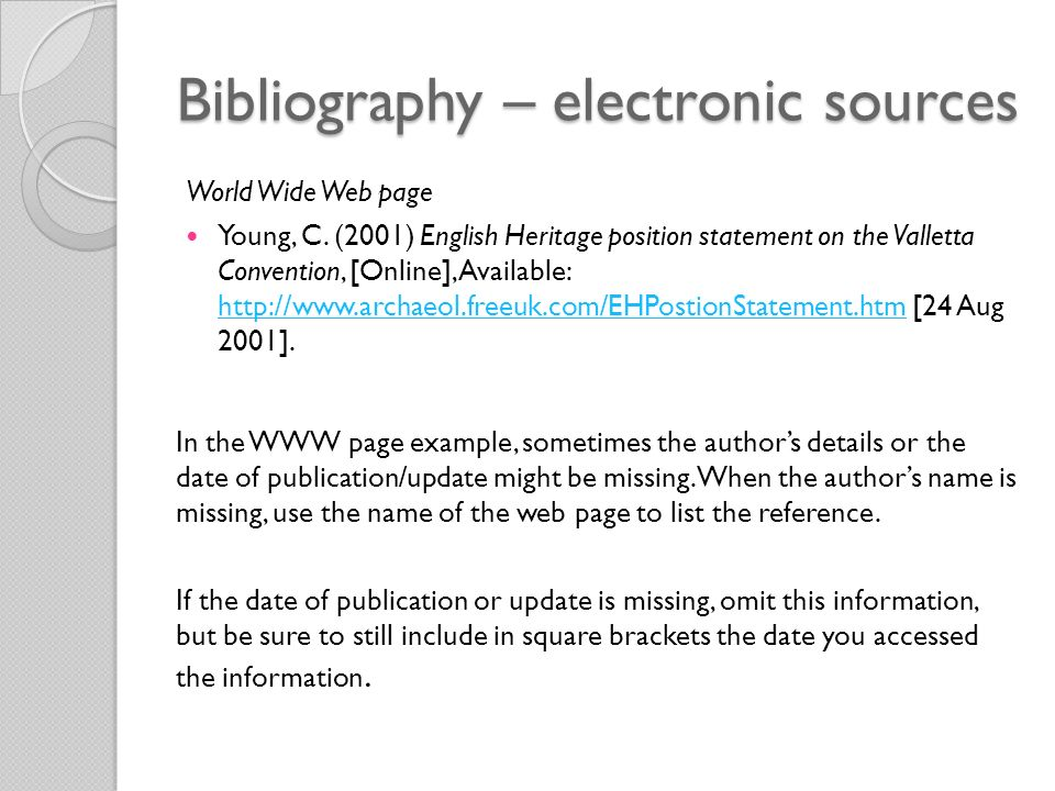 Bibliography – electronic sources