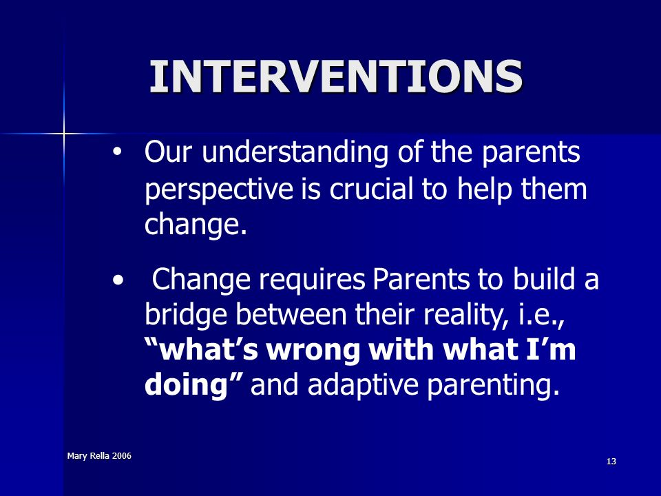 INTERVENTIONS Our understanding of the parents perspective is crucial to help them change.