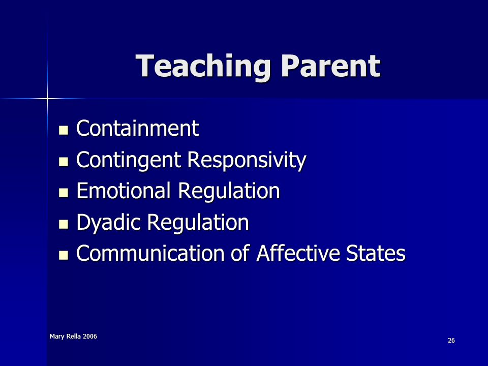 Teaching Parent Containment Contingent Responsivity