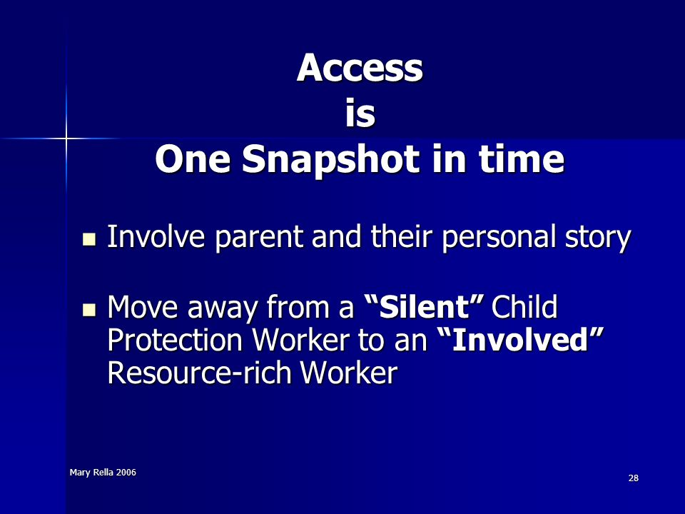 Access is One Snapshot in time