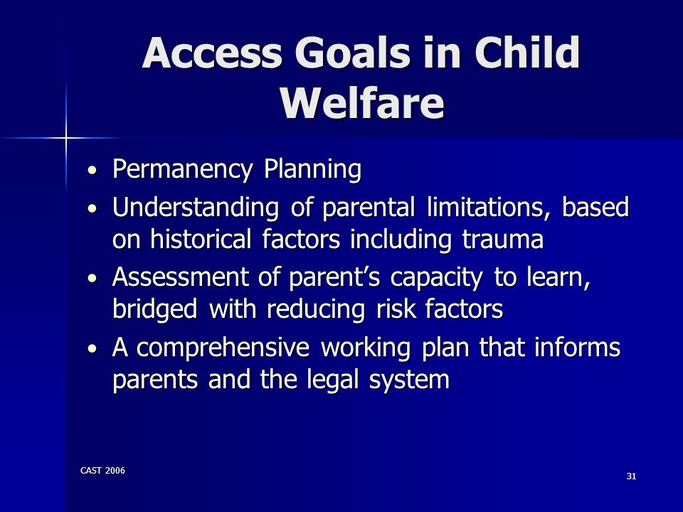 Access Goals in Child Welfare