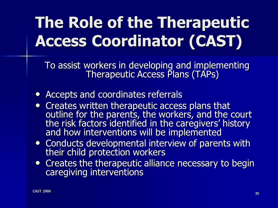 The Role of the Therapeutic Access Coordinator (CAST)