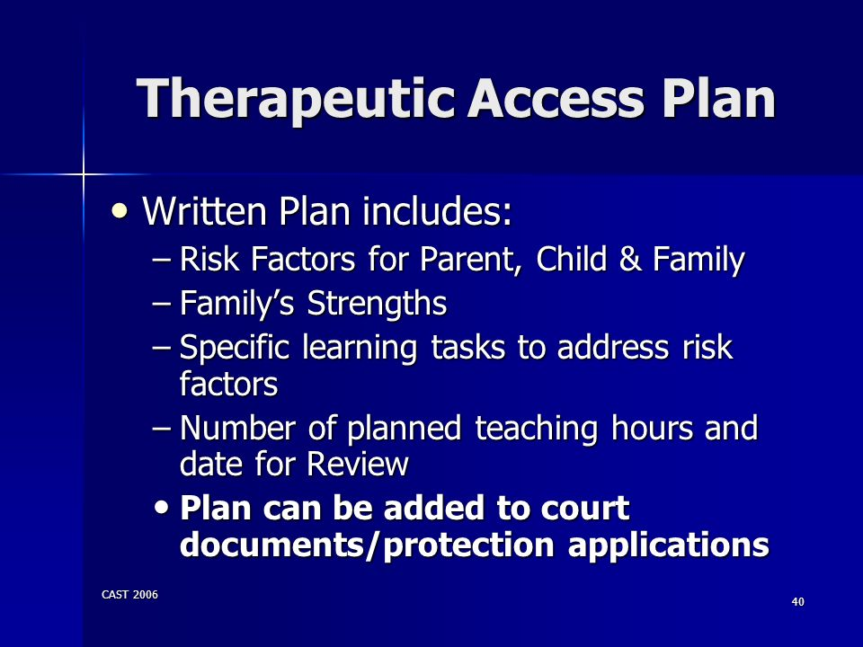 Therapeutic Access Plan