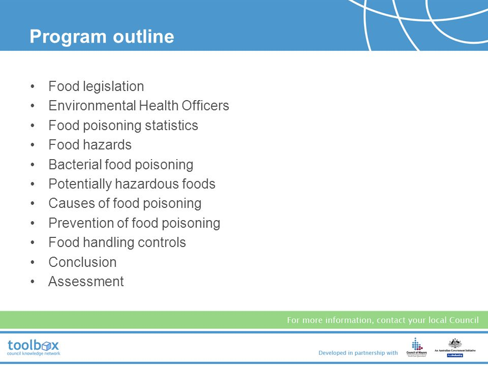 Program outline Food legislation Environmental Health Officers