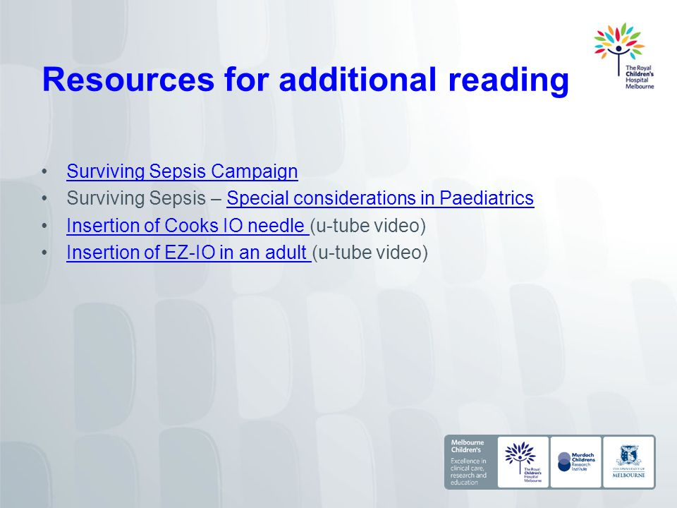Resources for additional reading