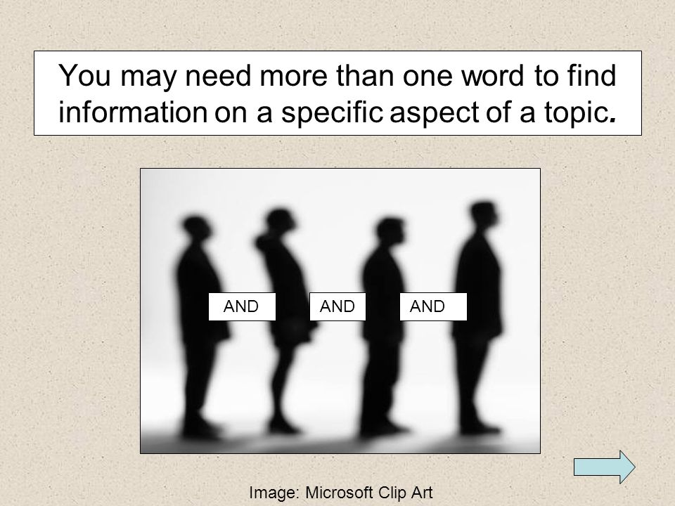 You may need more than one word to find information on a specific aspect of a topic.