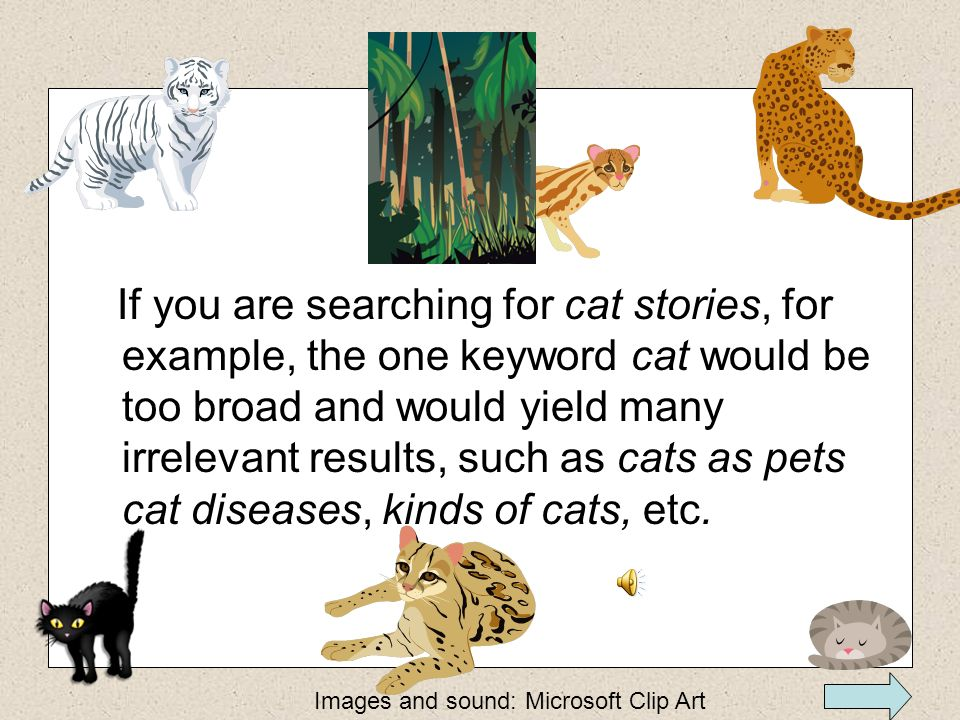 If you are searching for cat stories, for example, the one keyword cat would be too broad and would yield many irrelevant results, such as cats as pets cat diseases, kinds of cats, etc.