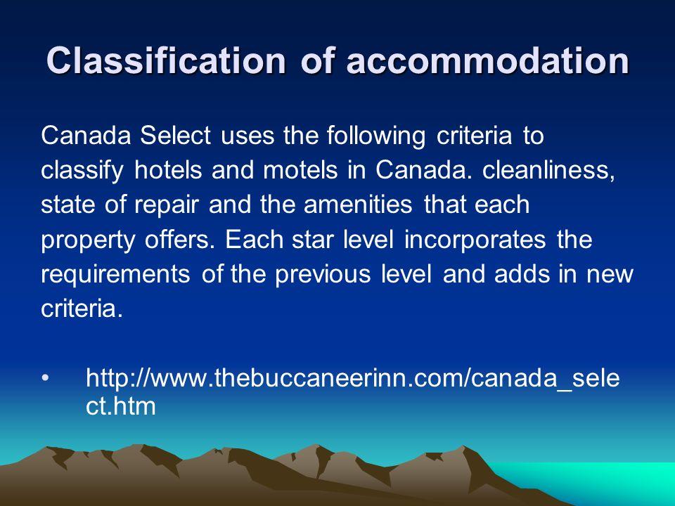 Classification of accommodation