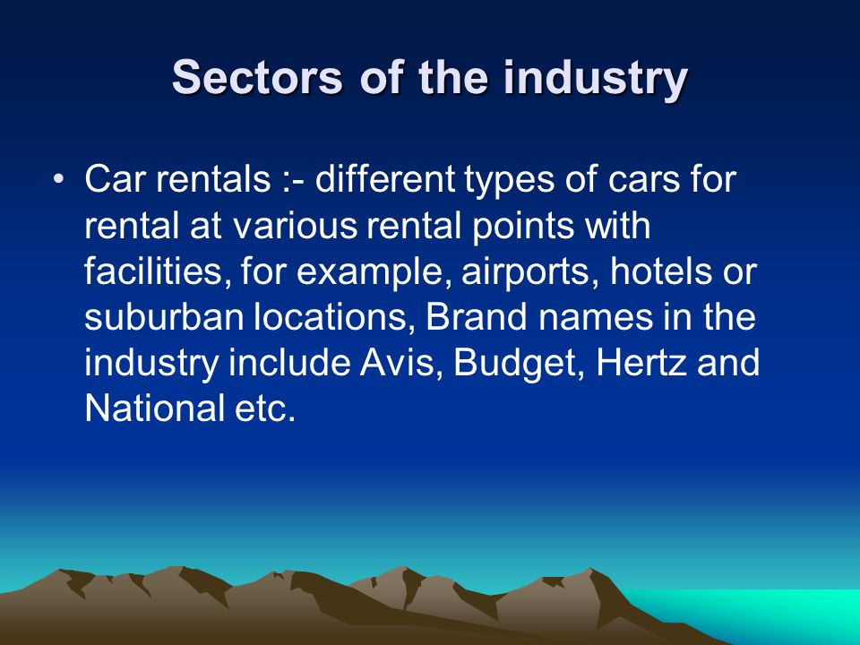 Sectors of the industry