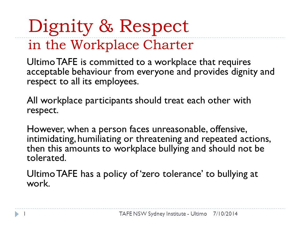 Dignity & Respect in the Workplace Charter