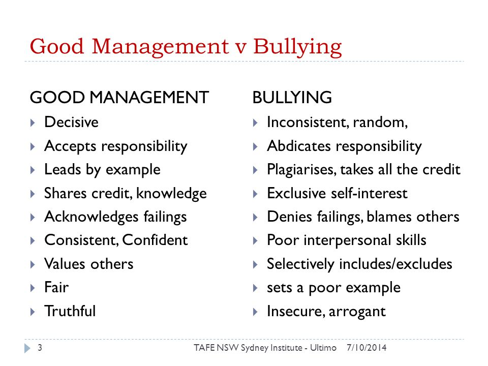 Good Management v Bullying