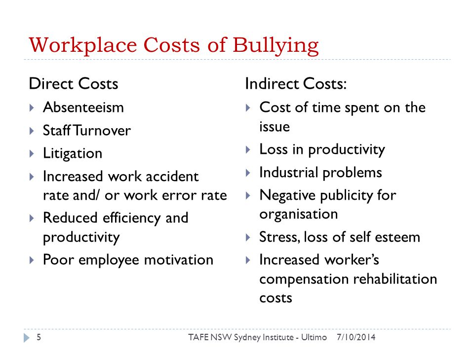 Workplace Costs of Bullying