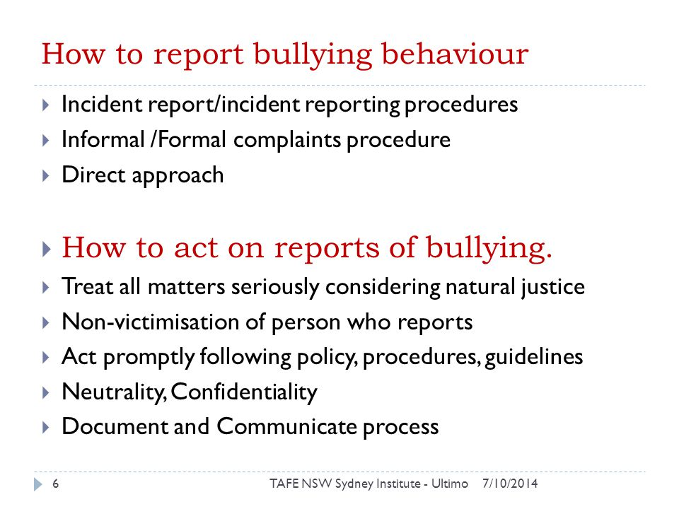 How to report bullying behaviour