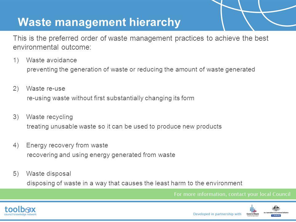 Waste management hierarchy