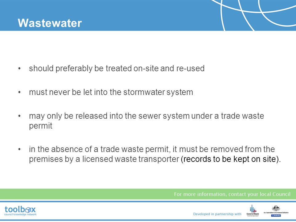 Wastewater should preferably be treated on-site and re-used