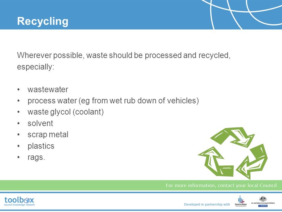 Recycling Wherever possible, waste should be processed and recycled,