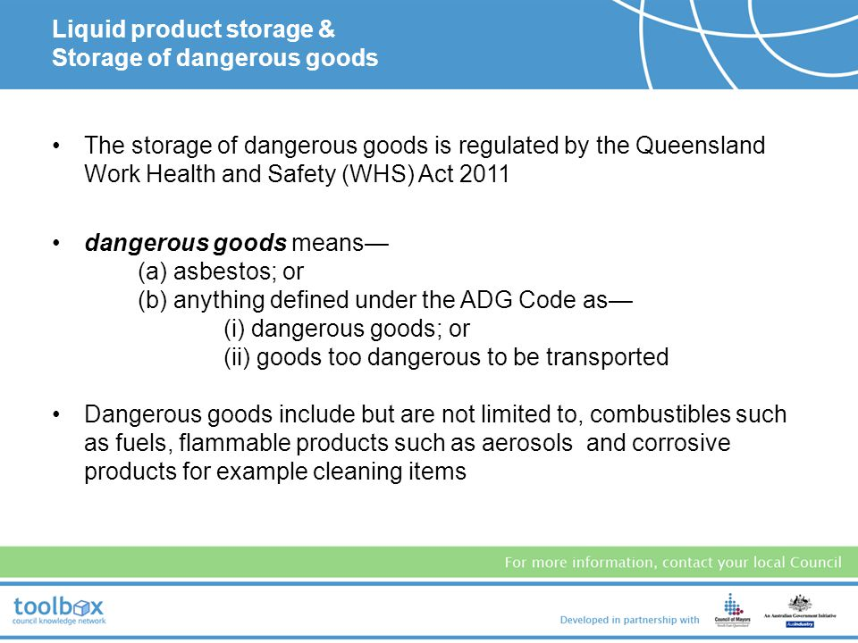 Liquid product storage & Storage of dangerous goods