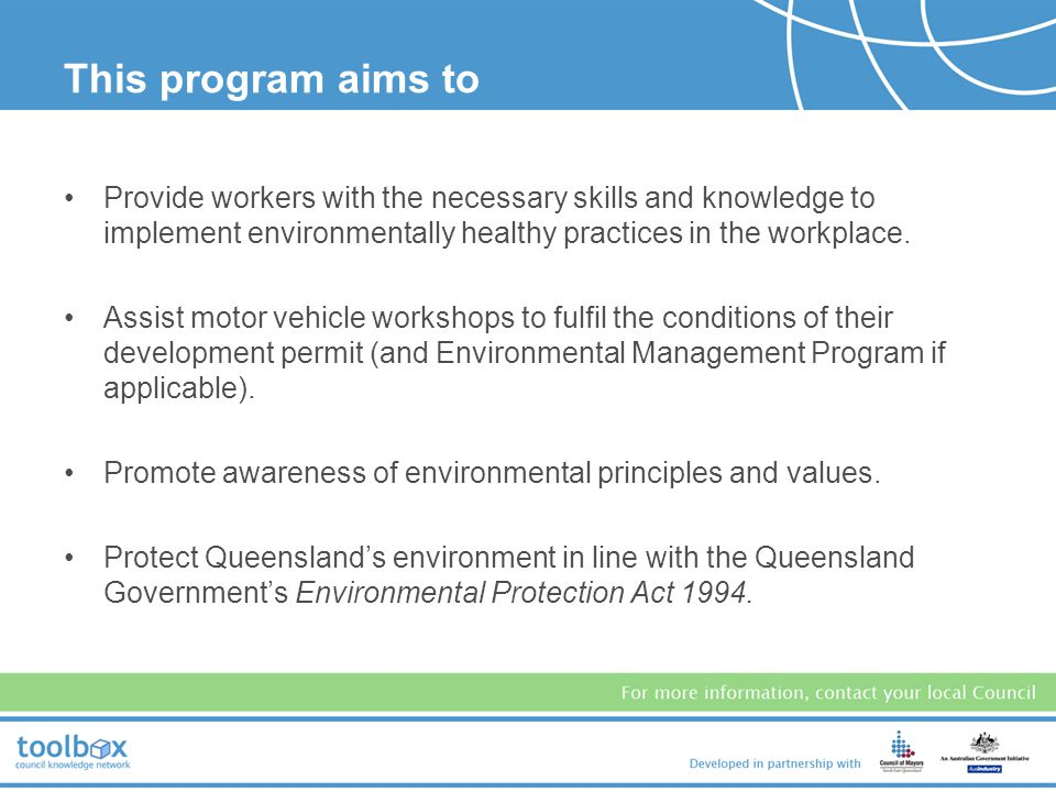 This program aims to Provide workers with the necessary skills and knowledge to implement environmentally healthy practices in the workplace.