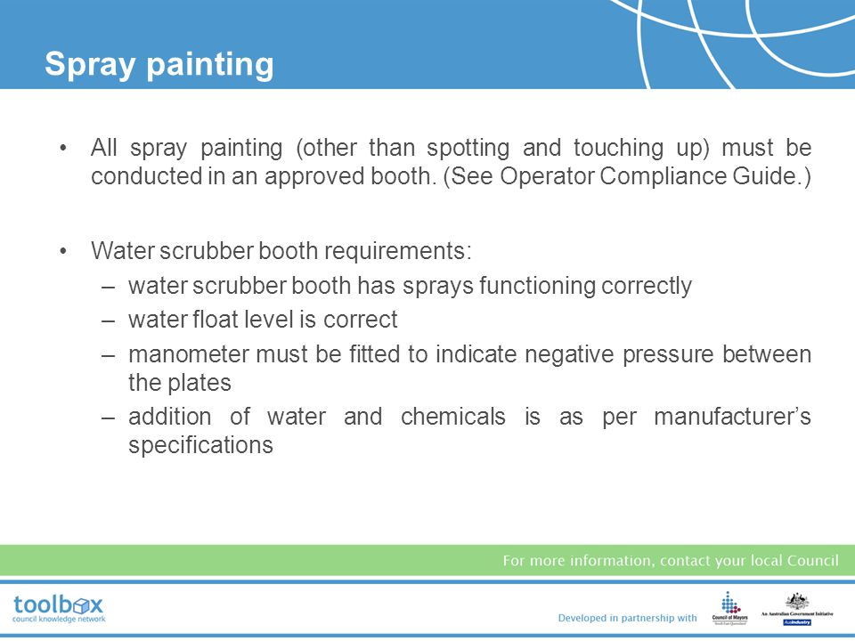Spray painting All spray painting (other than spotting and touching up) must be conducted in an approved booth. (See Operator Compliance Guide.)
