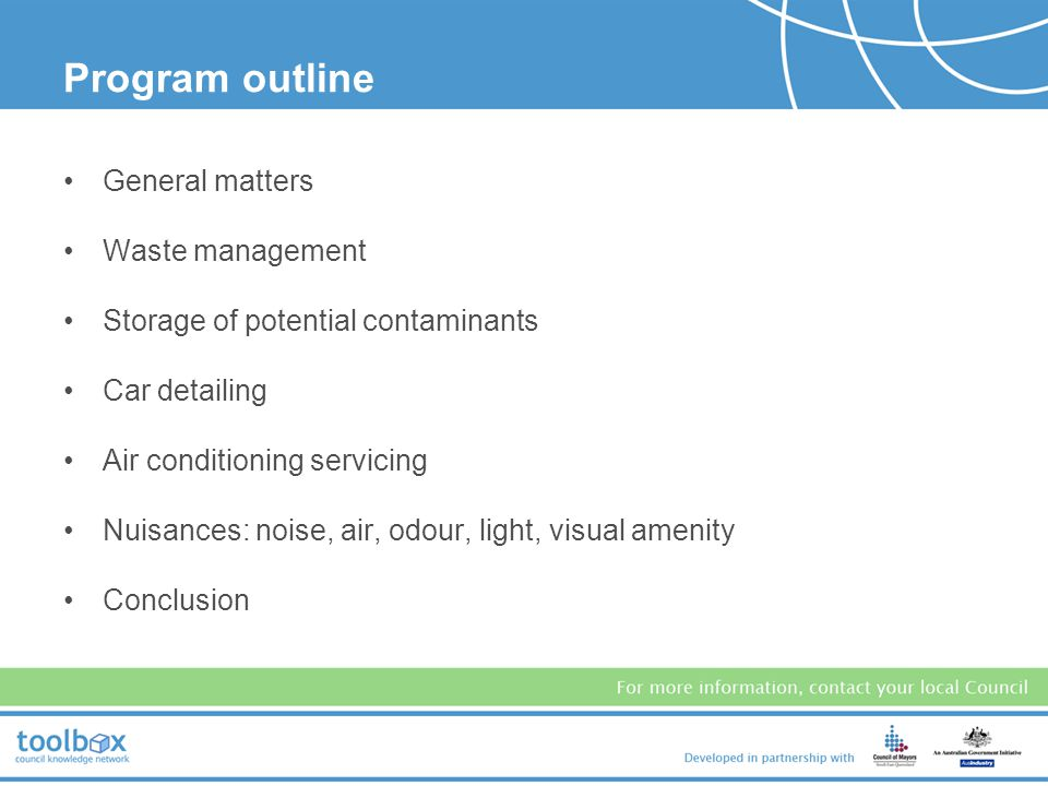 Program outline General matters Waste management