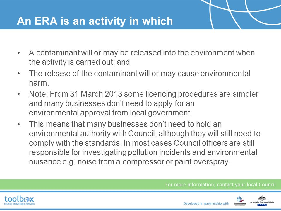 An ERA is an activity in which