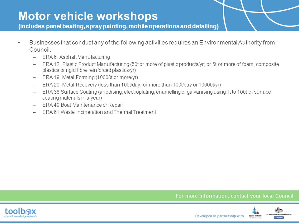 Motor vehicle workshops (includes panel beating, spray painting, mobile operations and detailing)