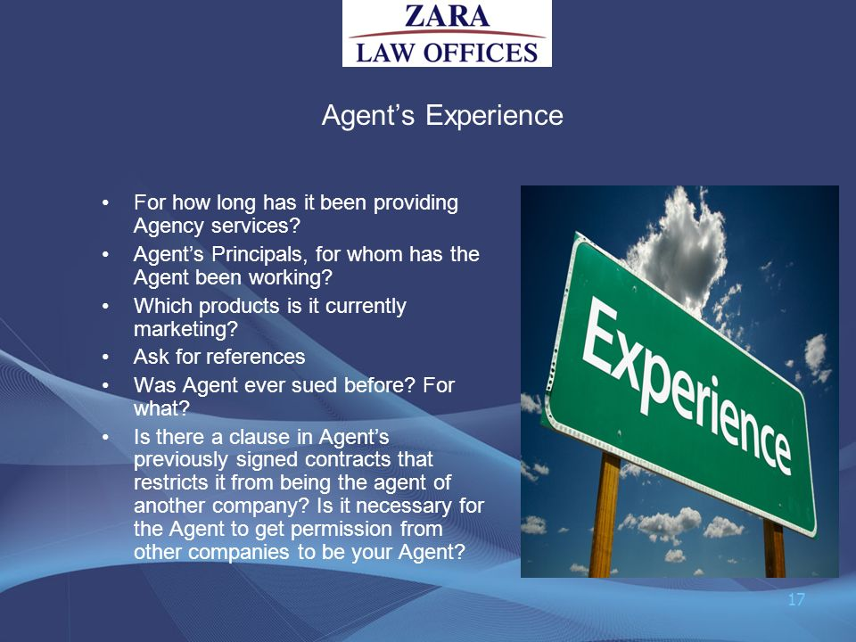 Agent's Experience For how long has it been providing Agency services