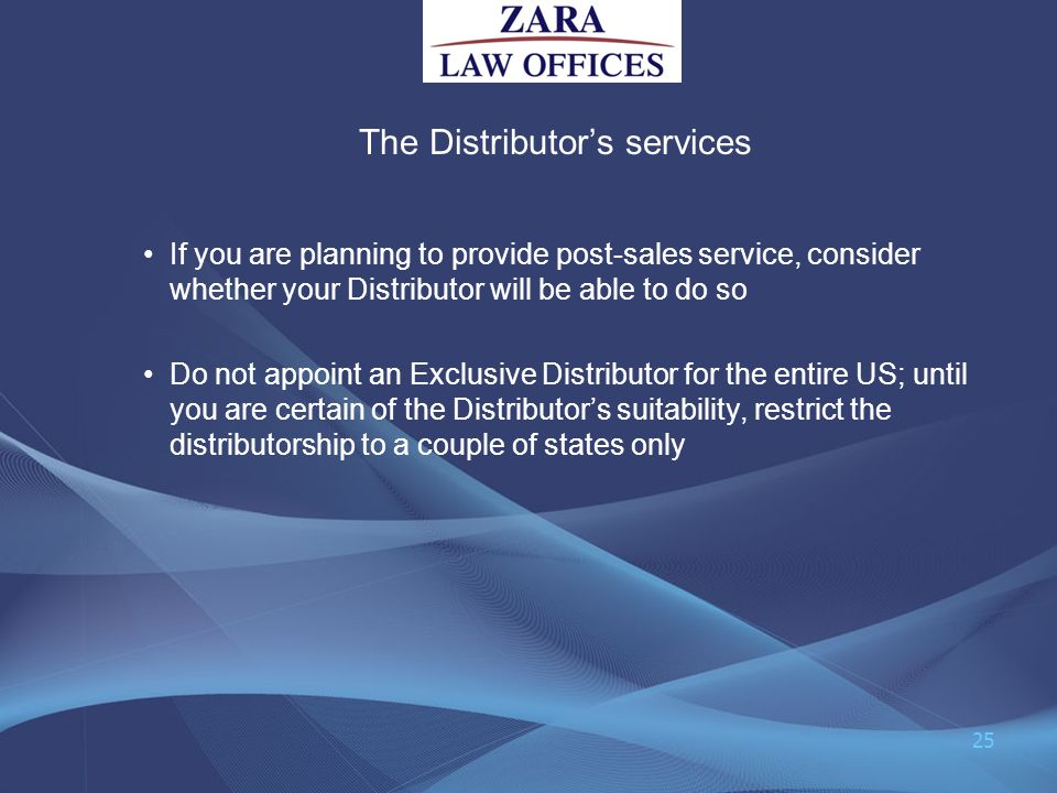 The Distributor's services