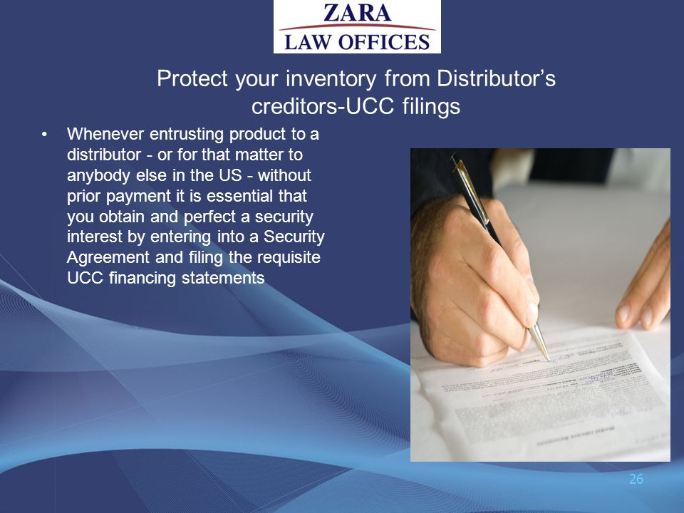 Protect your inventory from Distributor's creditors-UCC filings