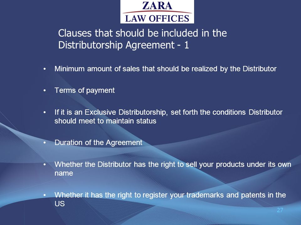 Clauses that should be included in the Distributorship Agreement - 1