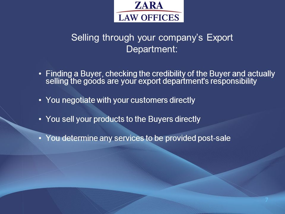 Selling through your company's Export Department: