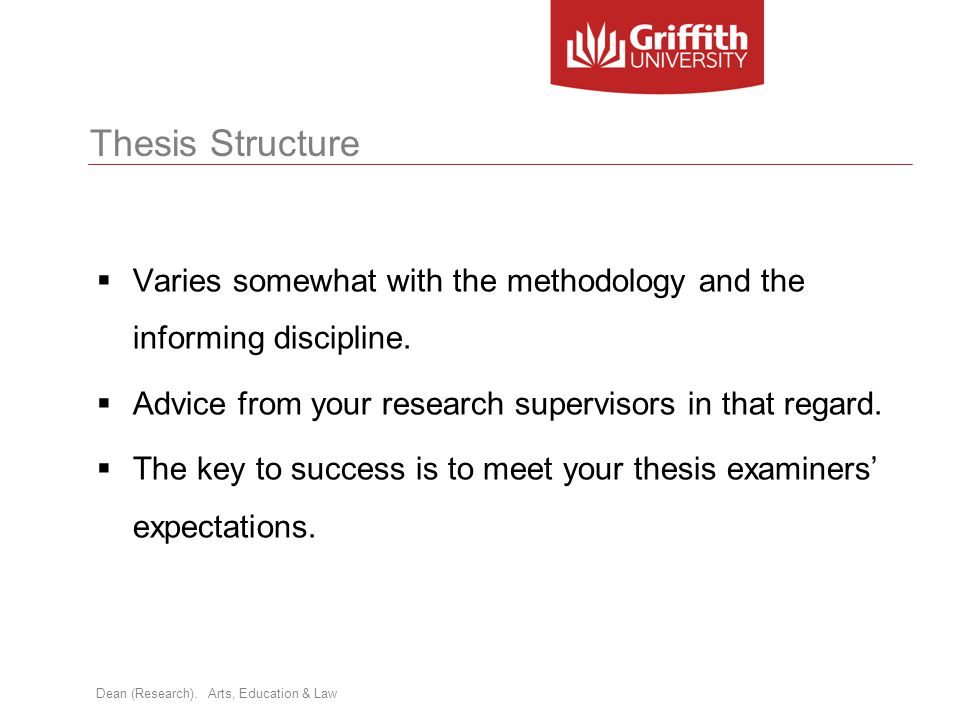 Thesis Structure Varies somewhat with the methodology and the informing discipline. Advice from your research supervisors in that regard.