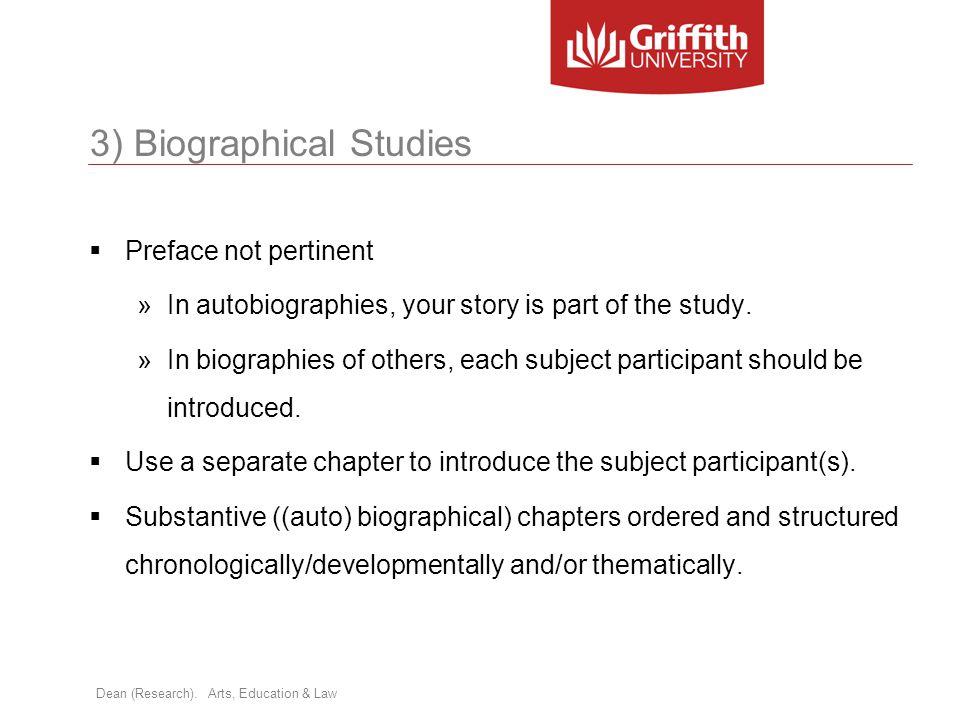 3) Biographical Studies